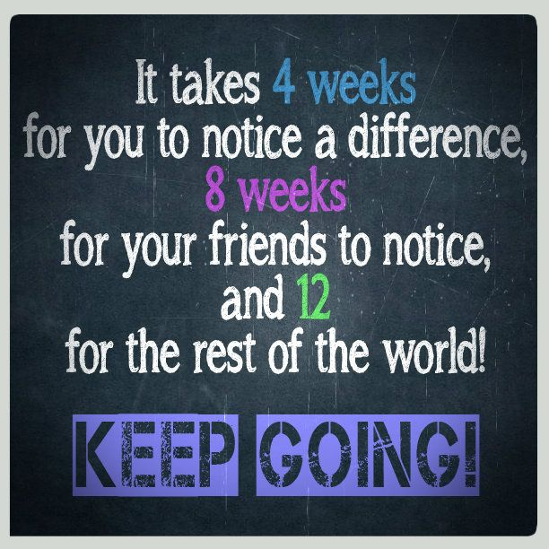 It takes 4 weeks for you to notice a difference, 8 weeks for your friends to notice, and 12 for the rest of the world! Keep Going! fb.com/melissamissfit #motivation #fitness: