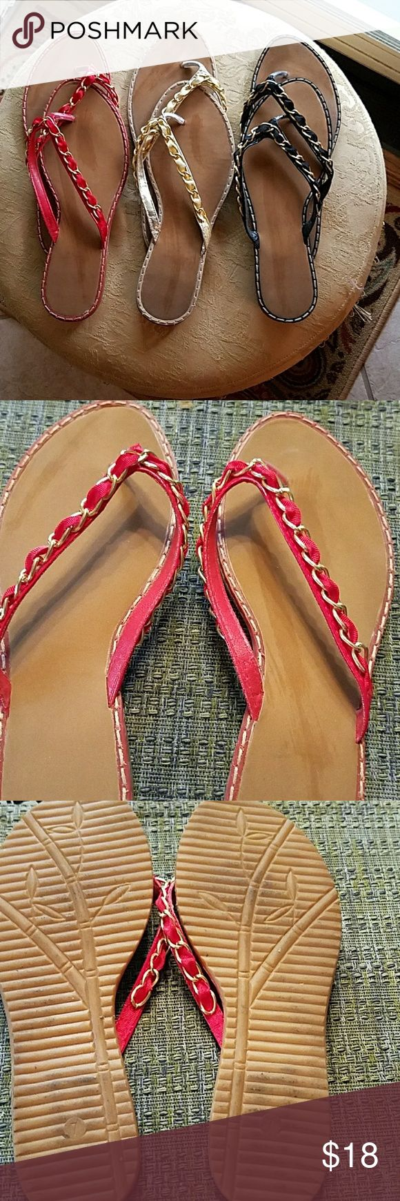 Bundle of 3 Sandals Great colors and slenderizing on your foot! Red, Gold, Black ribbons run through a gold chain on each. Super cute! Shoes Sandals