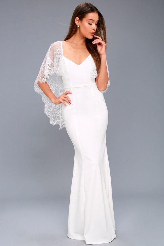 de030bfc33d Amelie White Lace Maxi Dress - LuLu s