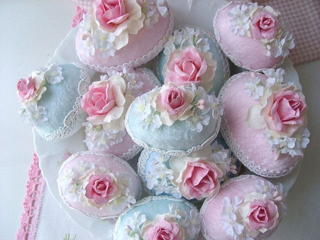 Pretty Crushed Velvet Easter Eggs with Millinery made by me.   Copyright 2008-2010 Rhea Cominolo aka Sweet n Shabby Roses
