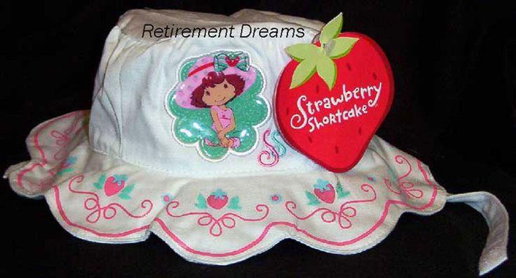 Girls STRAWBERRY SHORTCAKE Bucket Cap Hat NEW Born Infant NB White Sparkle #StrawberryShortcake