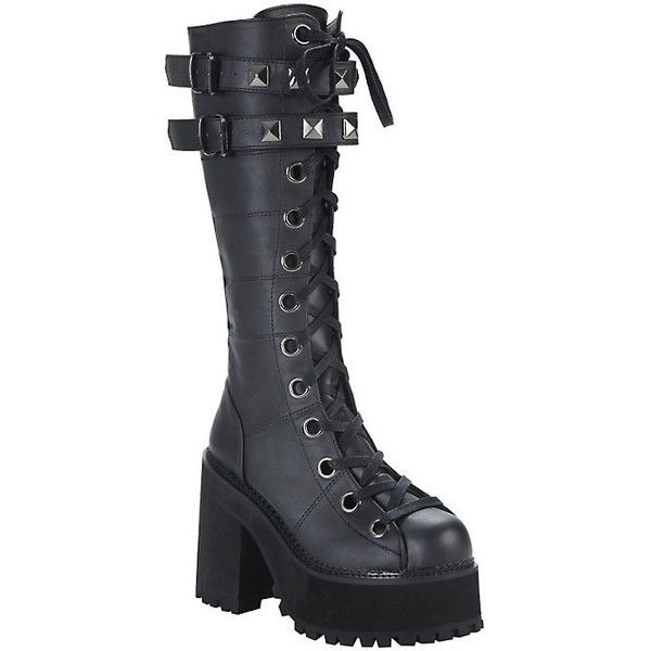 Demonia By Pleaser Assault Stud Strap Platform Boots Hot Topic (£88) ❤ liked on Polyvore featuring shoes, boots, knee high lace up boots, gothic platform boots, knee high heel boots, goth platform boots and knee-high lace-up boots