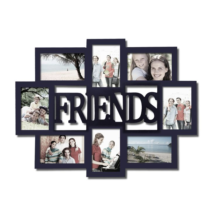 Adeco 'Friends' 8-opening Black Wooden Photo Collage Frame | Overstock.com Shopping - The Best Deals on Photo Frames & Albums
