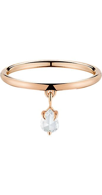 Finn Rose Gold Band with Diamond Teardrop - Engagement Rings and Wedding Bands - Barneys.com
