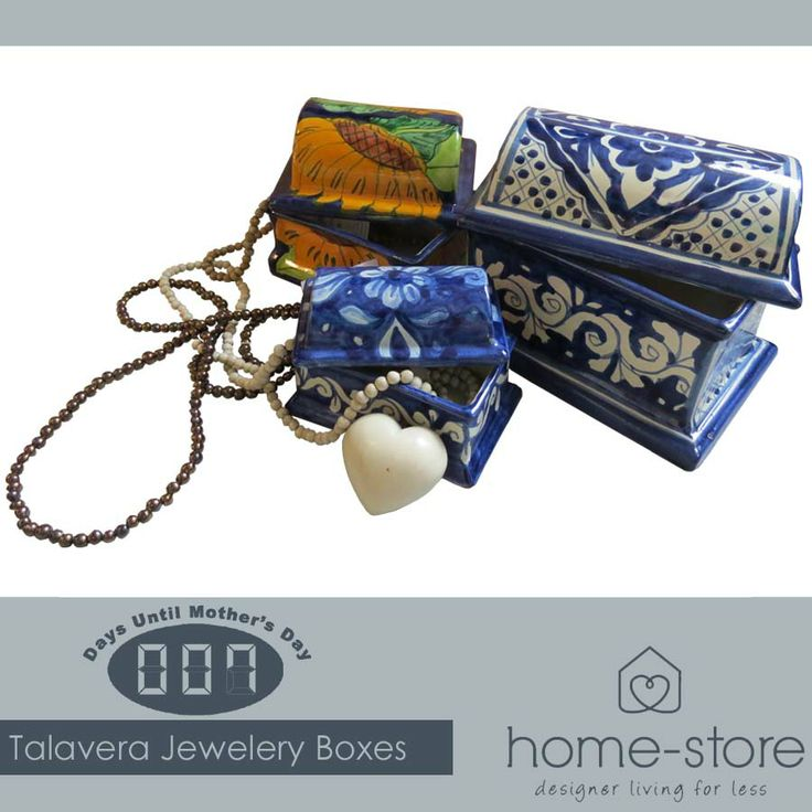 Since the 26th century, Mexican craftsmen have been producing Talavera pottery. These Talavera jewellery boxes are perfect for storing your treasures, and a beautiful Mother's Day gift. Now available at Home-Store. #mothersday #talavera