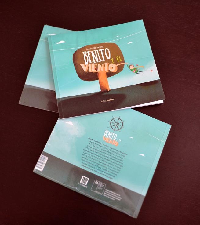 Portada de Benito y el viento, mi primera publicación. Es un cuento ilustrado dirigido a niños en edad preescolar. El libro fue editado por Ocho Libros.
