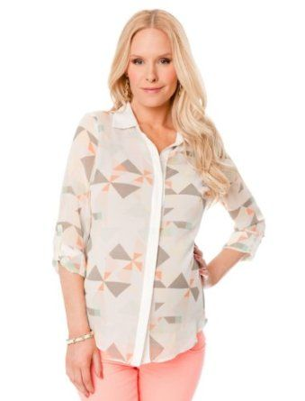 A Pea in the Pod: Long Sleeve Button Front Maternity Blouse A Pea in the Pod. $59.99