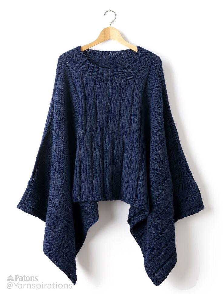 Reversible Ribbed Knit Poncho - Patterns | Yarnspirations | Free Pattern