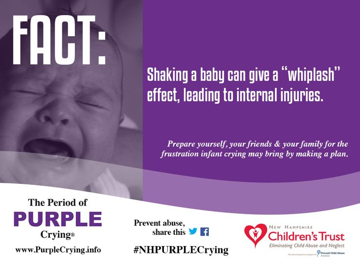 the period of purple crying As parents, we're proud to show off pictures of our kids much less common on social media are selfies of sleep-deprived faces caused by hours of infants crying but babies will cry, for all kinds of reasons, and sometimes for no reason at all.