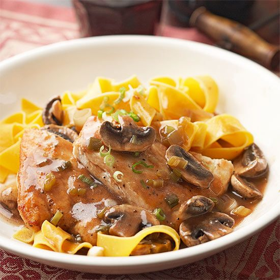 We've whipped up an easy chicken marsala recipe for you that will make you feel like you're eating dinner in Italy. This healthy chicken recipe features ingredients like chicken breasts, mushrooms, green onions, and dry sherry.