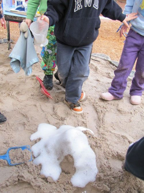 Volcanoes in the sandpit. Now thats how a volcano should be done!