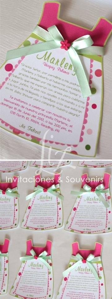Invitación baby shower niña vestidito / invitation baby dress baby shower