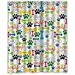 X Cute Dog Paws And Bones Bathroom Shower Curtain Shower Rings Included,  Polyester