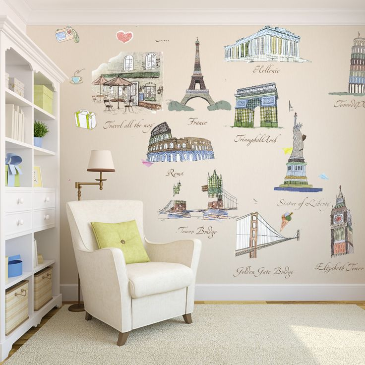 Effiel Tower Statue Of Liberty Representative Famous World Architecture Wall  Stickers Decor Decal Living Room Office Part 63