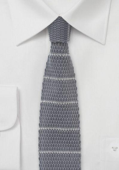Strick-Krawatte dunkelgrau silbergrau