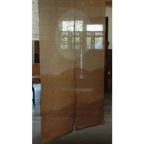 """Japanese Noren, AA2, mountain and moon, linen door way curtain by EASTERN CLASSICS. $60.00. 36""""W x 60""""L. linen. Japanese noren. Mountain and moon. dry clean only. Eastern Classics www.tansushop.com 510.526.1241"""