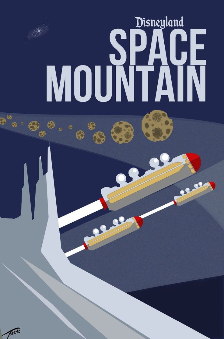 Disneyland Space Mountain Poster 24 x 36 inch Awesome   eBay