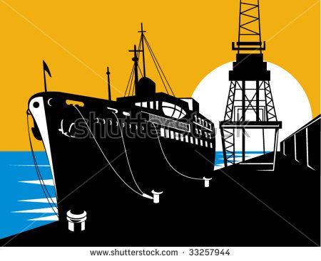 Passenger ship at the docks #ship #retro #illustration