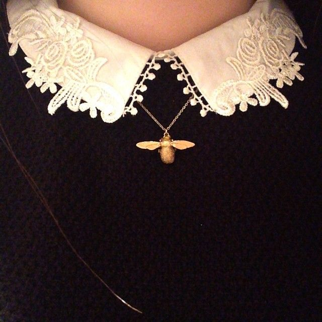 Alex Monroe Bumblebee Necklace, jewellry, lace, collar, shirt, blouse, jumper, style, fashion