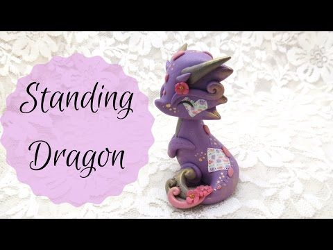 Cute Standing Dragon polymer clay tutorial