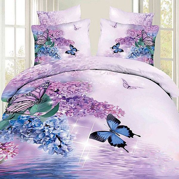 100.29 cadress.com SUPPLIES Selling Butterfly Inexpensive and Purple... ($100) ❤ liked on Polyvore featuring home, bed & bath, bedding, floral bedding, cotton duvet cover set, butterfly bedding, purple floral bedding and cotton bedding