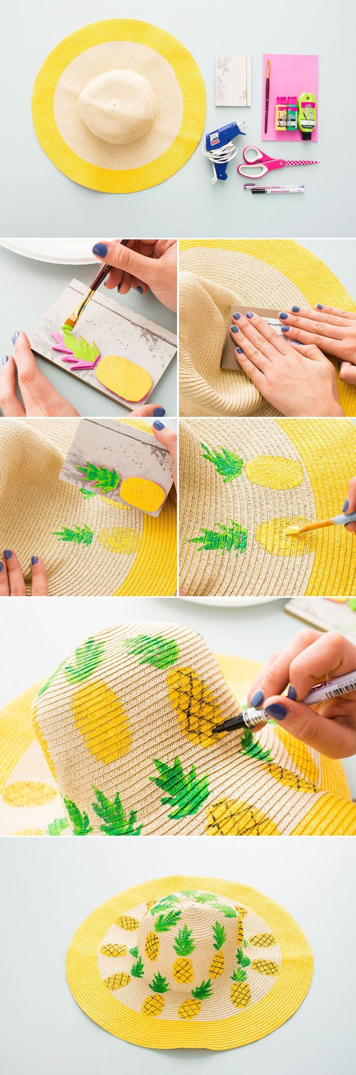 Update a simple floppy hat with this DIY.