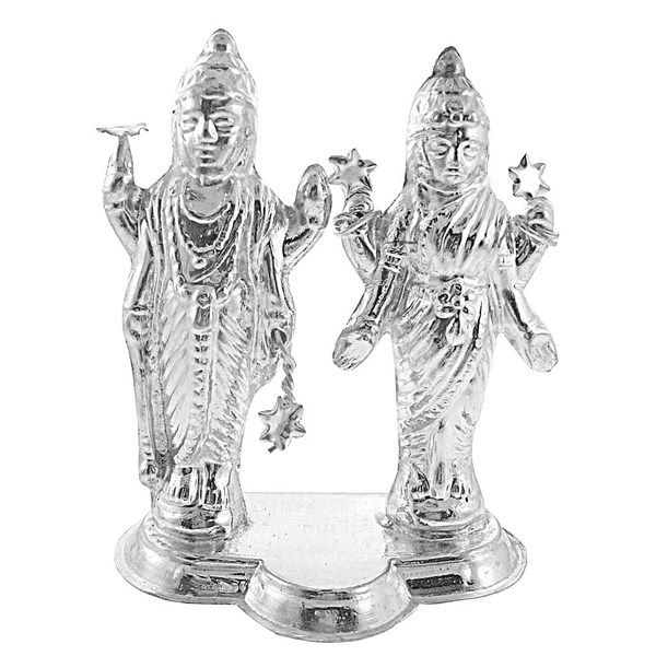 Jpearls Pure Silver Holy Lakshmi-Narayan Idol in 18 Grams