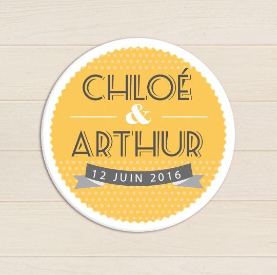 badge mariage pois jaune