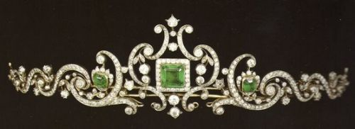Prussian Emerald Scroll Tiara; Worn At: 2016 Greek National Day State Banquet --- 2016 Italian State Opening of Parliament