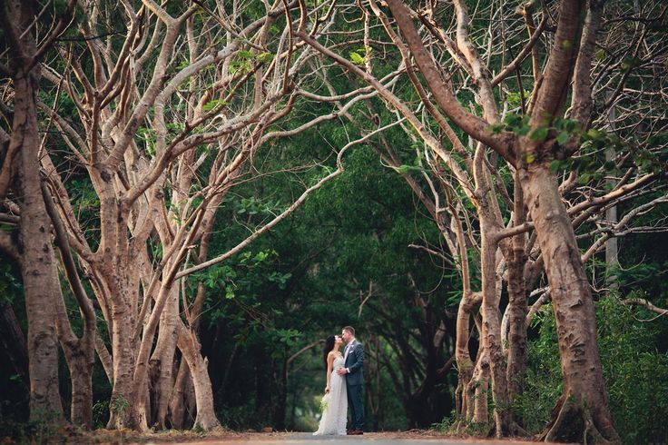"Stephanie and Jeffrey posing in Vietnam's ""tunnel of love,"" just outside of Con Dao's village where they enjoyed an intimate wedding ceremony.  Image by Aiden Dockery"