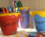 organize your craft center with a Winnie the Pooh theme: Pooh Hunni, Crafts Supplies Storage, Hunni Pots, Cute Ideas, Flowers Pots, Winniethepooh, Winnie The Pooh, Parties Games, Kid