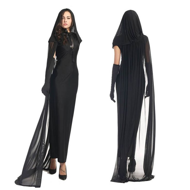 Preto Traje Do Fantasma Bruxa Má Costume Gothic Cosplay do Assoalho comprimento Manto Trajes de Halloween para As Mulheres Plus Size XL XXL em Roupas - Bebê de Novidade e de uso especial no AliExpress.com | Alibaba Group