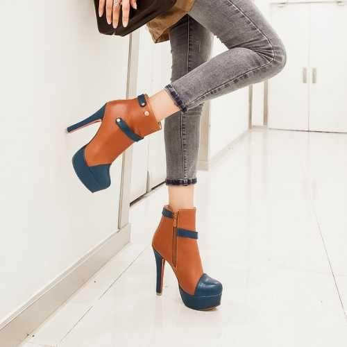 Туфли на платформе Леди Плюс Размер 34-43 Смешанные Цвета За Колено Высокие сапоги Для Женщин На Высоких Каблуках Женская Обувь Два Стиля женская обувь