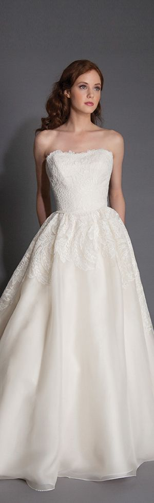 modern trousseau spring 2016 odette strapless pretty A-line wedding dress lace bodice  #weddingdress #alineweddingdress #weddings