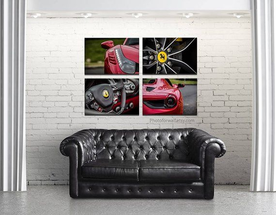 first anniversary gift with Ferrari 488 canvas art, cars sports office bedroom boys room wall decor, birthday boyfriend gift prints poster #photo4wall…