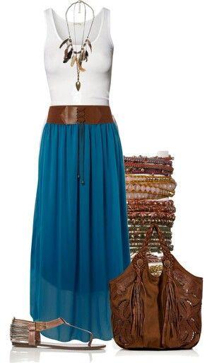 Blue shift skirt, stackable boho hippie bracelet, bangle