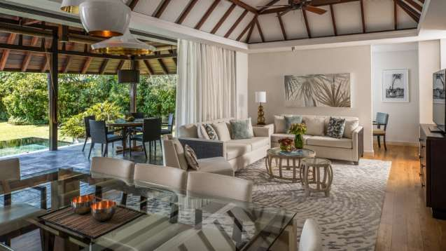 Three-Bedroom Garden Residence Villas in Mauritius offer the exclusivity of a private home, with spacious living and dining areas. Enjoy a cold drink or a sunrise breakfast on the covered patio with adjoining plunge pool.
