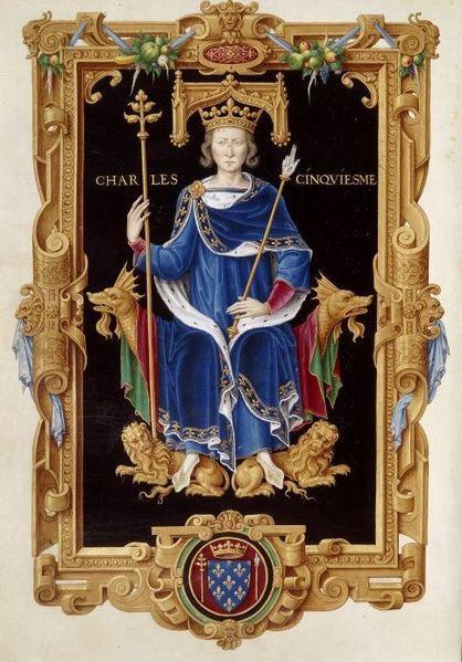 8.04.1364 -16.09.1380.Карл V. Charles the Wise of France.From Recueil des rois de France.(FR 2848,f150),by Jean de Tillet (16th cent.).In the BNF.Летом 1363 бежал из плена Людовик I Анжуйский, один из фр.заложников,к-рые должны были нах-ся в Кале до полного выкупа за Иоанна II. Иоанн II Добрый счёл себя обесчещен.поступком сына и в янв.1364 вернулся в Лондон. Отъезд Иоанна II вновь сделал дофина Карла регентом. Скоропост.кончина Иоанна II в Лондоне 8 апр.1364 превратила дофина в короля Карла…