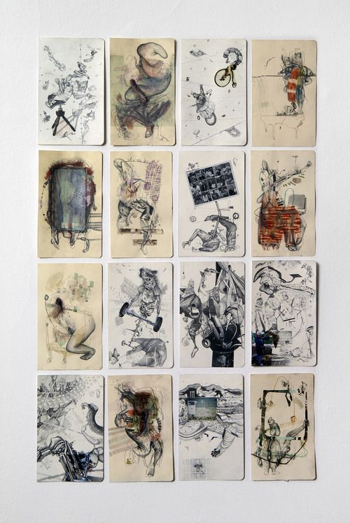 Outlet, series of 31drawings, 2012, collage, pencil, mixed media on paper, 13 x 20,5cm, ambient size