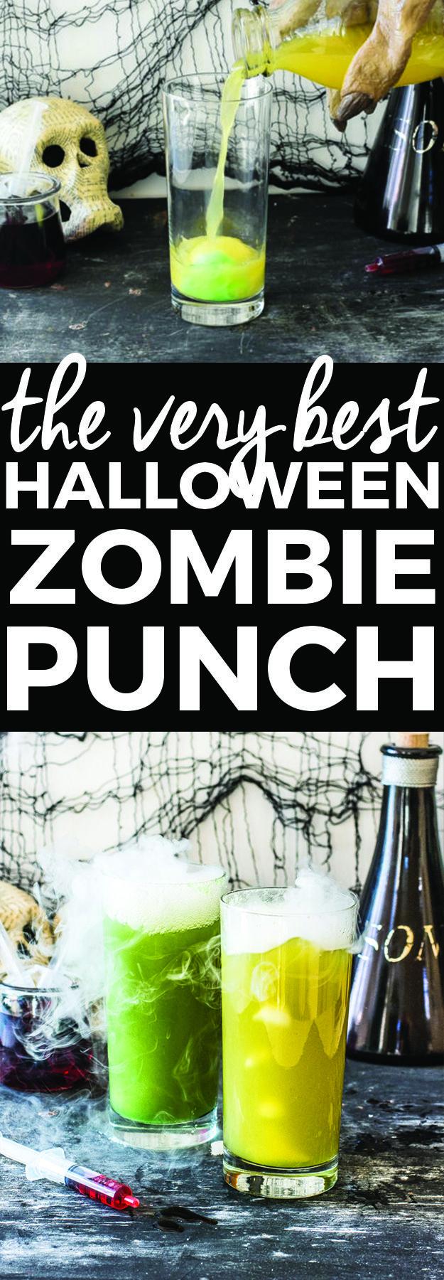 Halloween Zombie Punch Recipe | halloween recipes, halloween punch recipes, halloween drink recipe turn non-alcoholic into alcohol  any spirits you like!!!!
