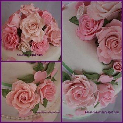 Roses made in flowerpaste and marzipan.  hanneskaker.blogspot.com