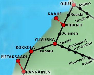Pohjois-Pohjanmaan ratakartta - Railway Long-distance service network in northern Ostrobothnia