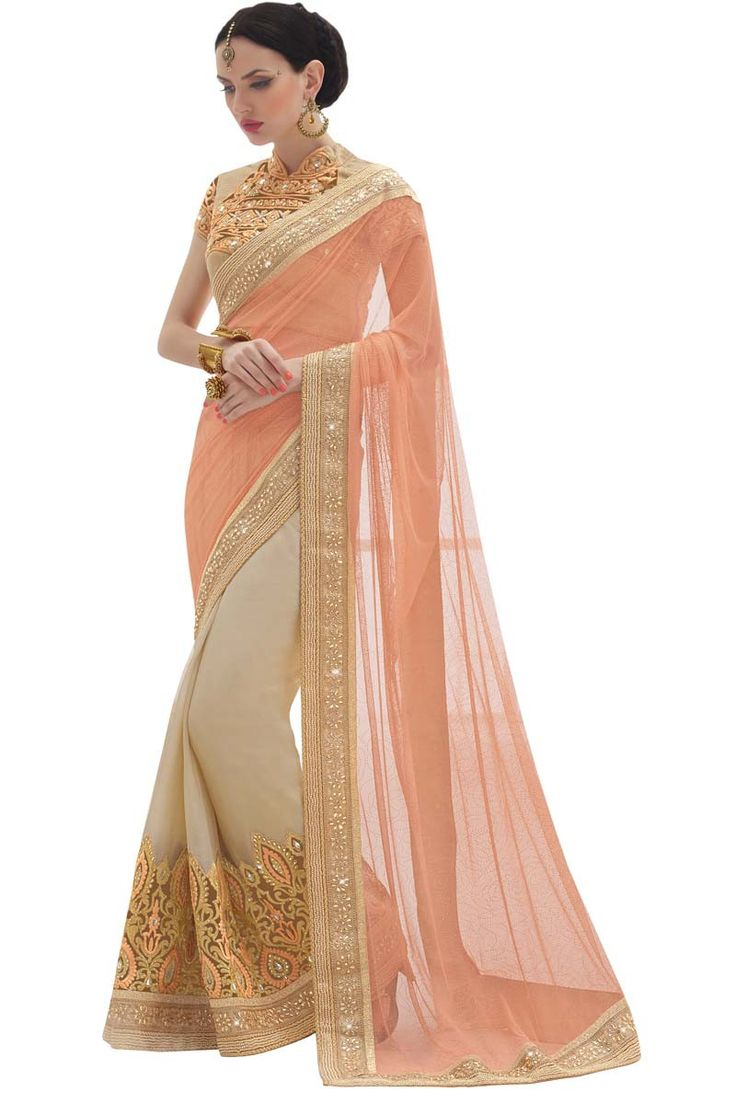 Orange Georgette Designer Saree