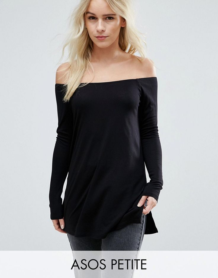 Buy it now. ASOS PETITE Off Shoulder Slouchy Top With Side Split - Black. Petite top by ASOS PETITE, Soft-touch jersey, Off-shoulder neckline, Side splits, Loose fit � falls loosely over the body, Machine wash, 100% Viscose, Our model wears a UK 8/EU 36/US 4. ABOUT ASOS PETITE 5�3�/1.60m and under? The London-based design team behind ASOS PETITE take all your fashion faves and cut them down to size. Say goodbye to all your short-girl problems with our perfectly proportioned denim, day-t...