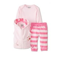 Licensed Very Hungry Caterpillar sherpa vest three-piece set.  Features pale pink sherpa hooded vest, long-sleeve bodysuit and striped leggings.  Size 3-6 months only.