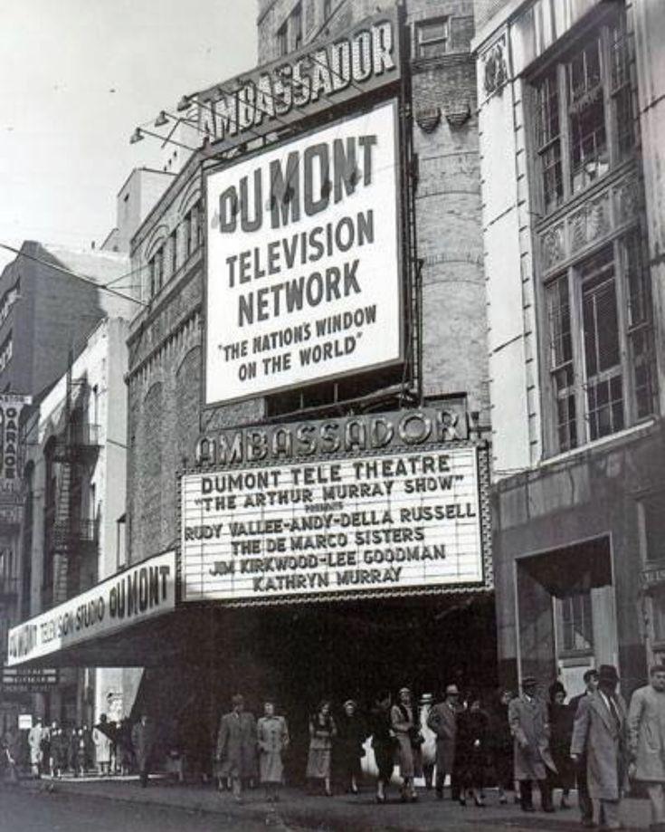 Broadway marquee ambassador theatre as television studio