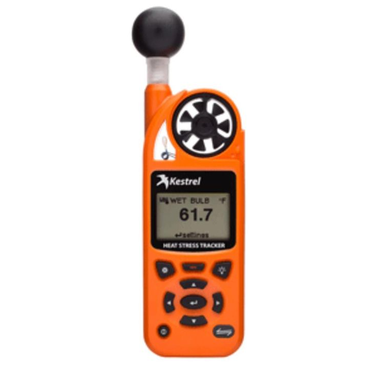 Kestrel 5400 Heat Stress Tracker - Safety Orange. 5400 Heat Stress Tracker - OrangeMost user-friendly WBGT meter on the market. Detect when heat-related conditions are unsafe well before your body does.Features: Measures Wet Bulb Globe Temperature (WBGT), Thermal Work Limit (TWL), heat index, temperature, humidity and more more - 15 measurements in all Waterless! Natural Web Bult Temperature accurately calculated from on-board digital sensors with no tedious setup or maintenance Large…