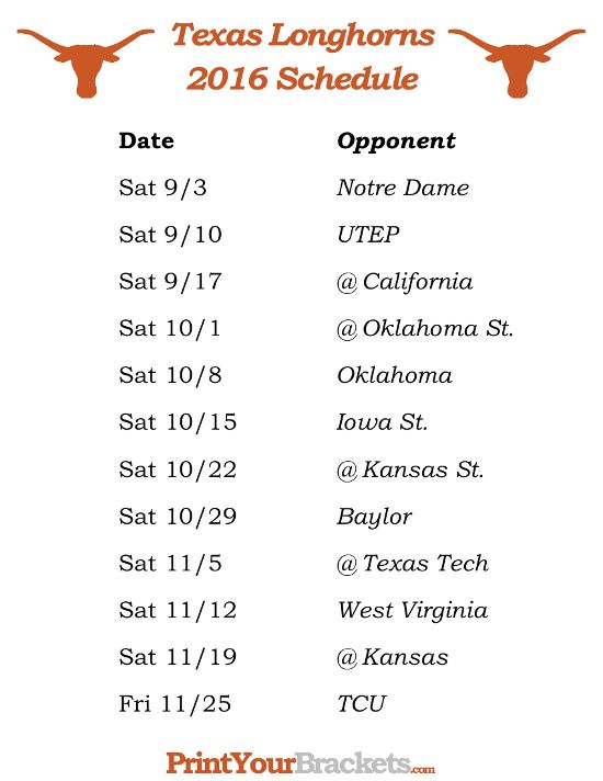 Printable Texas Longhorns Football Schedule 2016