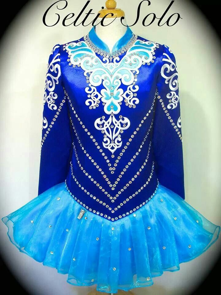 Celtic Solo Irish Dance Solo Dress Costume - blue on blue