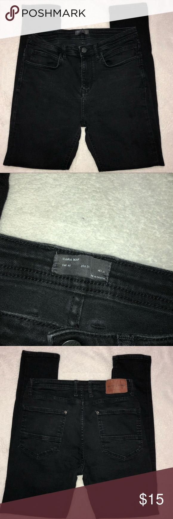"""Black Zara Man Skinny Jeans- Size 31 Black Zara Man Skinny Jeans- Size 31 Pre-owned, Good condition - a little stretched on the butt area but can't tell when wearing them  Material tag missing   Waist- 15 1/2"""" Rise - 10"""" Leg Opening- 5 1/4"""" Inseam- 29""""  *All measurements are approximate and taken with clothing lying flat   *184* Zara Jeans Skinny"""